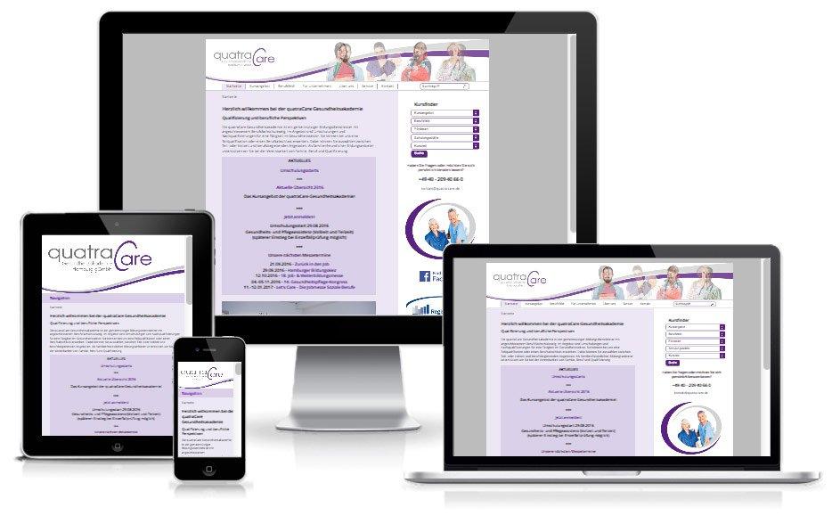 quatraCare Gesundheitsakademie - TYPO3 Website
